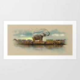 Travelling elephant Art Print