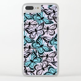Vintage Butterflies Clear iPhone Case