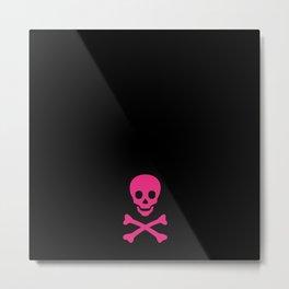 SKULL - BLACK & HOT PINK Metal Print
