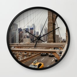 View on the manhatten from the Brooklyn Bridge in New York City, USA | New York City yellow caps driving | Travel photography | NY building architecture photo Art Print  Wall Clock