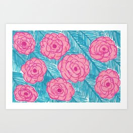 Tropical Palm Leaves and Roses Print Art Print