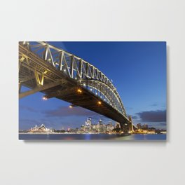 Harbour Bridge and Sydney skyline, Australia at night Metal Print