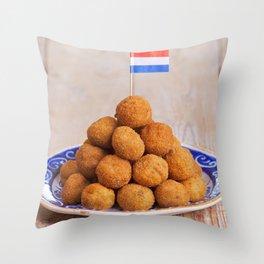 Dutch food: 'bittergarnituur' or 'bitterballen', deep fried snacks Throw Pillow