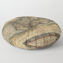 Antique Map of North and South America Floor Pillow