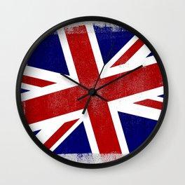 Union Jack Distressed Halftone Denim Flag Wall Clock
