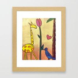 Giraffe Tulip Bluebird Framed Art Print