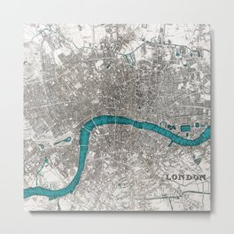 London on the Thames, Sepia and Teal Blue Vintage-style Map Metal Print