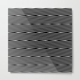 Abstract black and white Zigzag pattern . Fine lines 1 . Metal Print