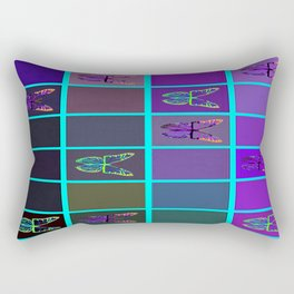 Purple & Blue, Teal Colors Butterflies in  Complimentary Geometric Colors   Rectangular Pillow