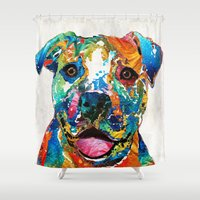 pit bull Shower Curtains featuring Colorful Dog Pit Bull Art - Happy - By Sharon Cummings by Sharon Cummings
