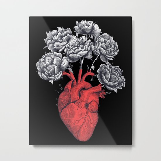 Heart with peonies on black Metal Print