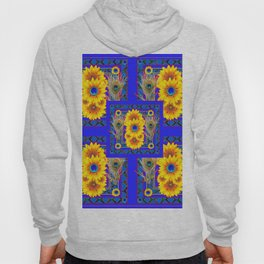 BLUE PEACOCK  SUNFLOWERS DECO JEWELED ABSTRACT Hoody