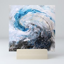 Ocean wave - blue and gold abstract seascape Mini Art Print