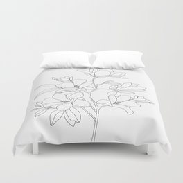 Minimal Line Art Magnolia Flowers Duvet Cover
