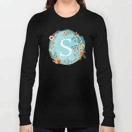 Personalized Monogram Initial Letter S Blue Watercolor Flower Wreath Artwork Long Sleeve T-shirt