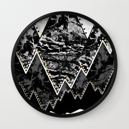 The small sun over the grey mountains Wall Clock