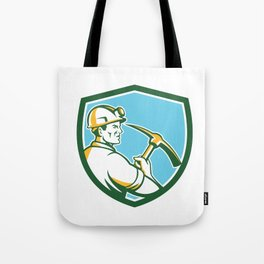 Coal Miner Hardhat With Pick Axe Side Shield Retro Tote Bag