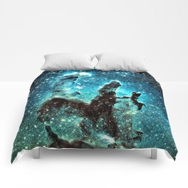 Teal Turquoise Blue Pillars of Creation Comforters