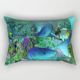 Exploration 3D Aquarium SHARKS Rectangular Pillow