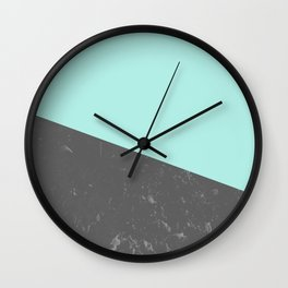 Marble Geometric Bright Mint Gray #5 #decor #art #society6 Wall Clock