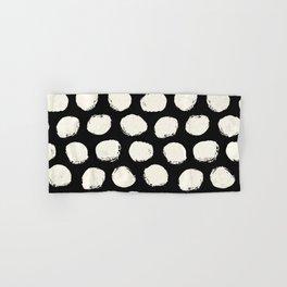 Trendy Cream Polka Dots on Black Hand & Bath Towel