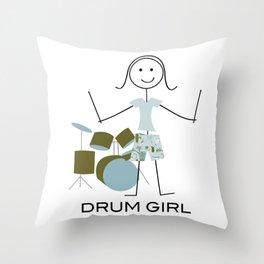 Funny Womens Drum Girl - Drummer Design Throw Pillow