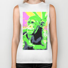 Pop Art Young Chimp Biker Tank