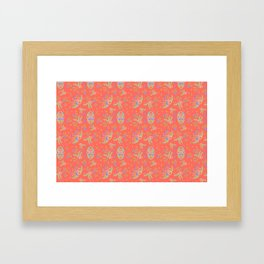 Vintage Florals - Living Coral Framed Art Print
