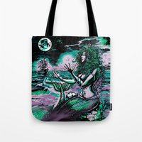 mythology Tote Bags featuring Mermaid Siren Pearl of atlantis mythology by Scott Jackson Monsterman Graphic