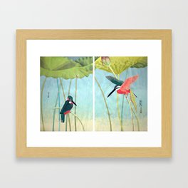 Kingfisher and Lotus Framed Art Print