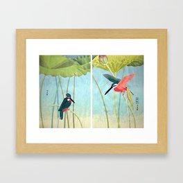 Kingfisher and Lotus Framed Art Print
