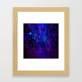 TREES MOON AND SHOOTING STARS Framed Art Print