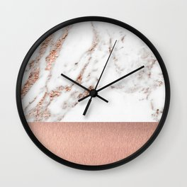 Rose gold marble and foil Wall Clock