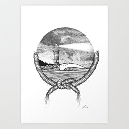 Tied to shore Art Print