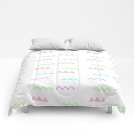 Abstract pink teal minimalist geometrical pattern Comforters