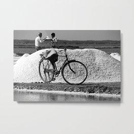 Saline Worker's Bicycle, Gujarat, India Metal Print