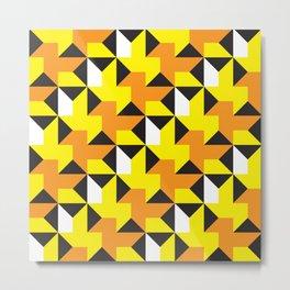 Geometric Pattern 214 (yellow orange black triangles) Metal Print