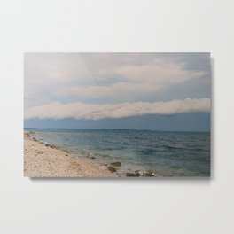 thunderstorm approaching at peroj beach croatia istria Metal Print