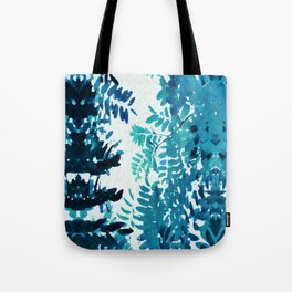 Blue Frond Leaves on Graphic Textured White Background Tote Bag