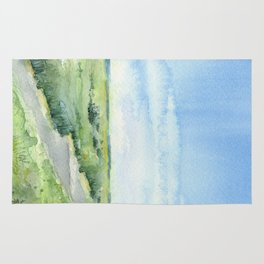 Sky and Grass Landscape Watercolor Rug