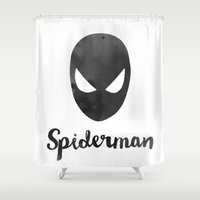spider man Shower Curtains featuring spider man by Pan Lis