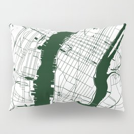 New York City White on Green Street Map Pillow Sham