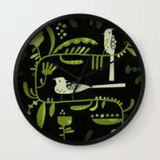 GREEN ON BLACK WITH BIRDS Wall Clock