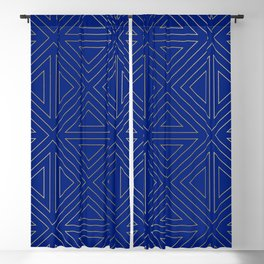 Angled Blue & Gold Blackout Curtain