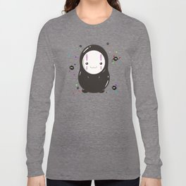 Spirited Away No Face Kawaii With Soot Sprites Long Sleeve T-shirt