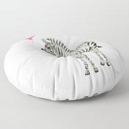 Zebra with Balloon Animal Watercolor Whimsical Animals Floor Pillow