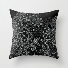 B&W Lace Throw Pillow