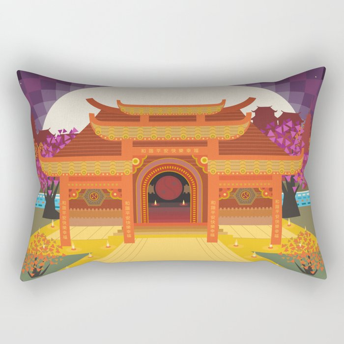 full moon vector japanese temple Rectangular Pillow