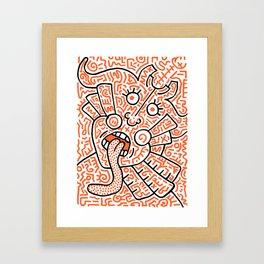 """The Face"" - inspired by Keith Haring v. orange Framed Art Print"