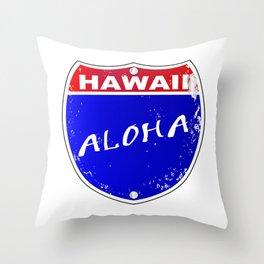 Hawaii Interstate Sign Throw Pillow